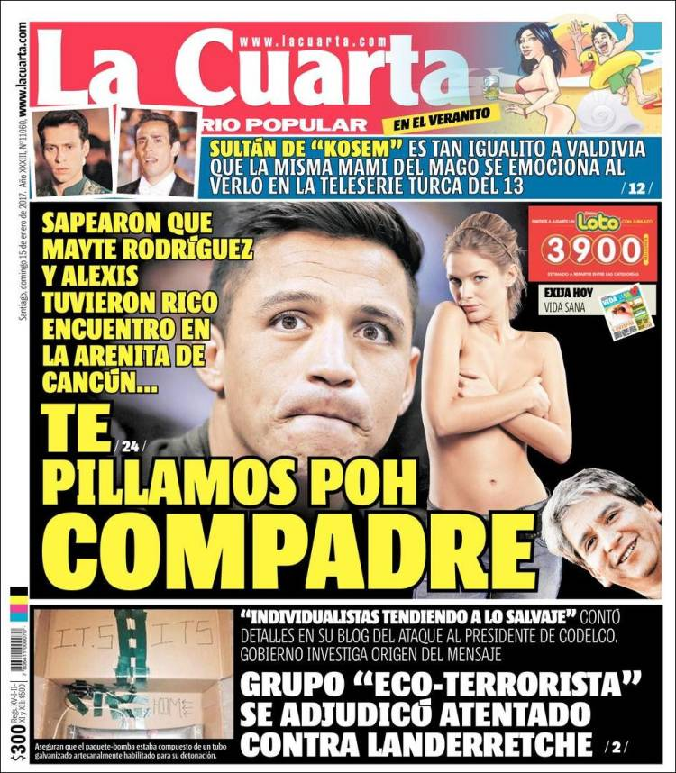 Newspaper La Cuarta (Chile). Newspapers in Chile. Sunday\'s edition ...