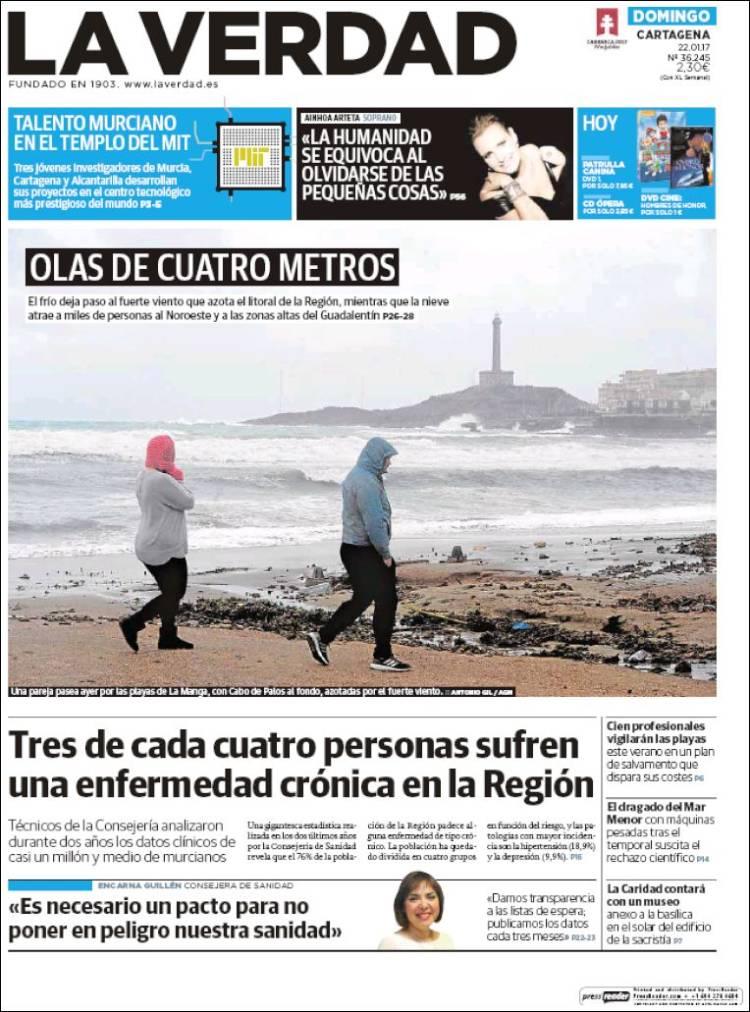 Portada de La Verdad de Cartagena (España)