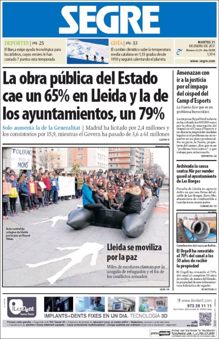 Periódico Segre (España)  Periódicos de España  Edición de