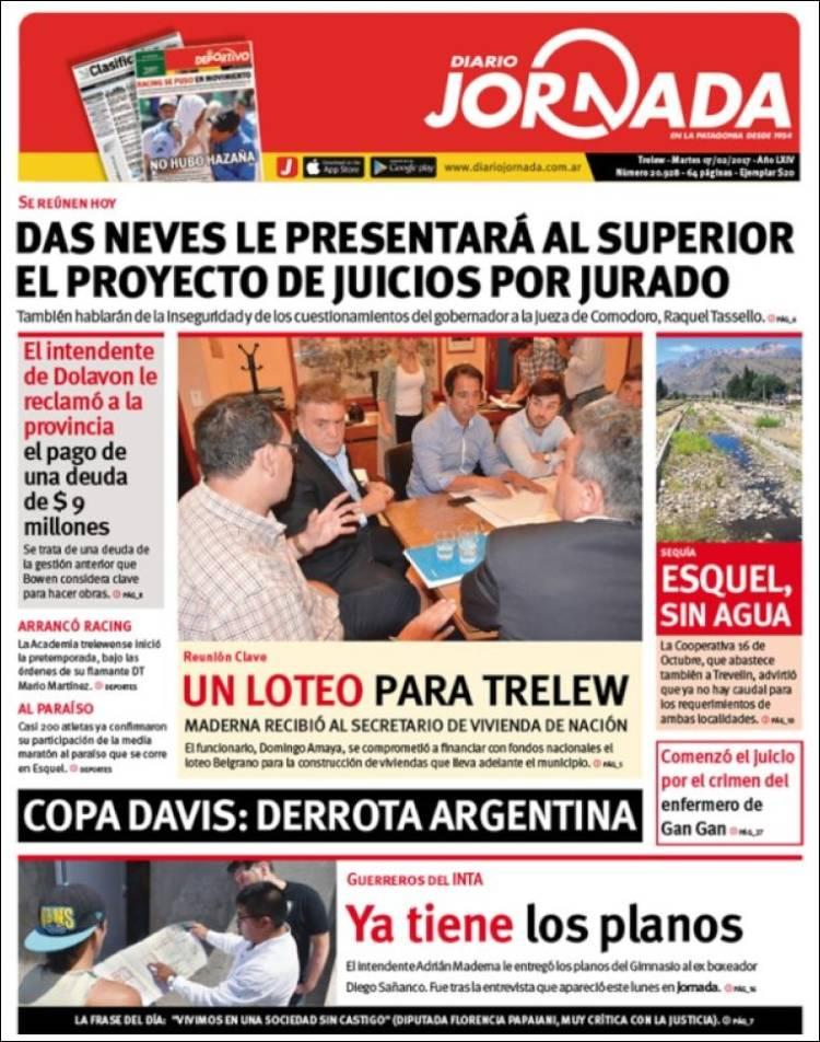 Portada de Diario Jornada en la Patagonia (Argentina)