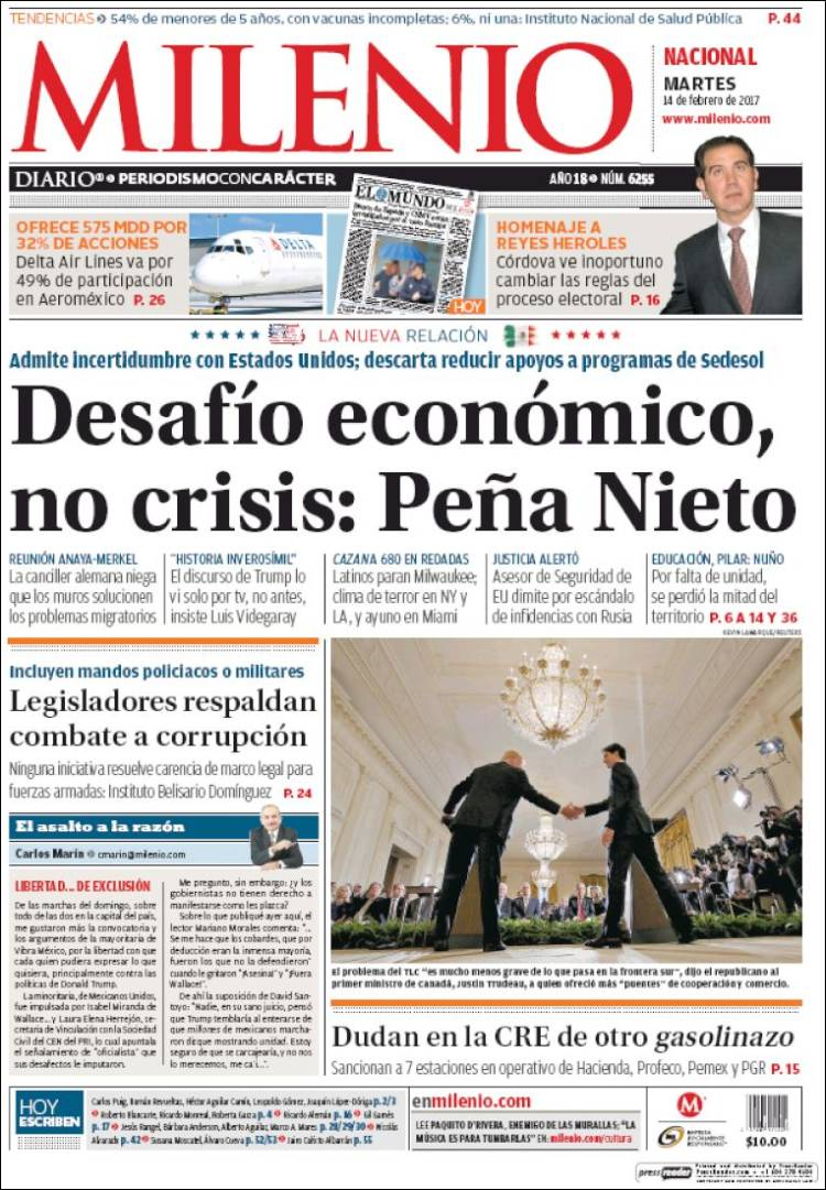 Newspaper Milenio (Mexico). Newspapers in Mexico. Tuesday\'s edition ...