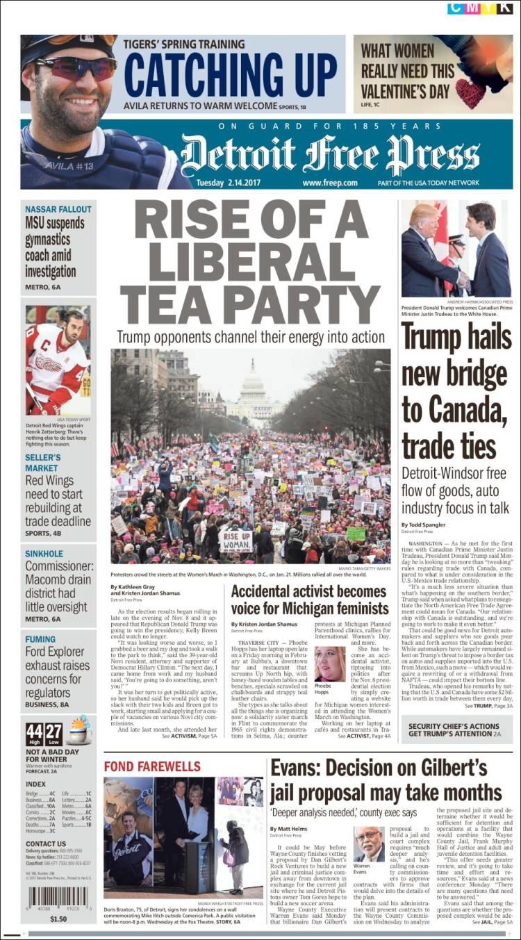 Newspaper Detroit Free Press Usa Newspapers In Usa Tuesday S Edition February 14 Of 2017 Kiosko Net