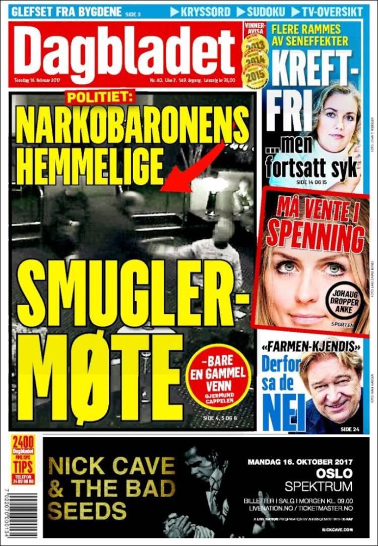 Portada de Dagbladet (Noruega)