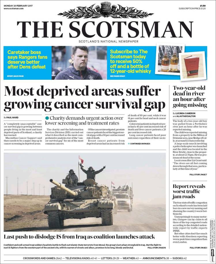 Portada de The Scotsman (Reino Unido)