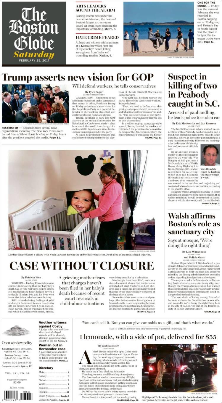Portada de Boston Globe (USA)