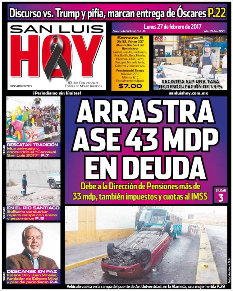Portada de San Luis Hoy (Mexico)