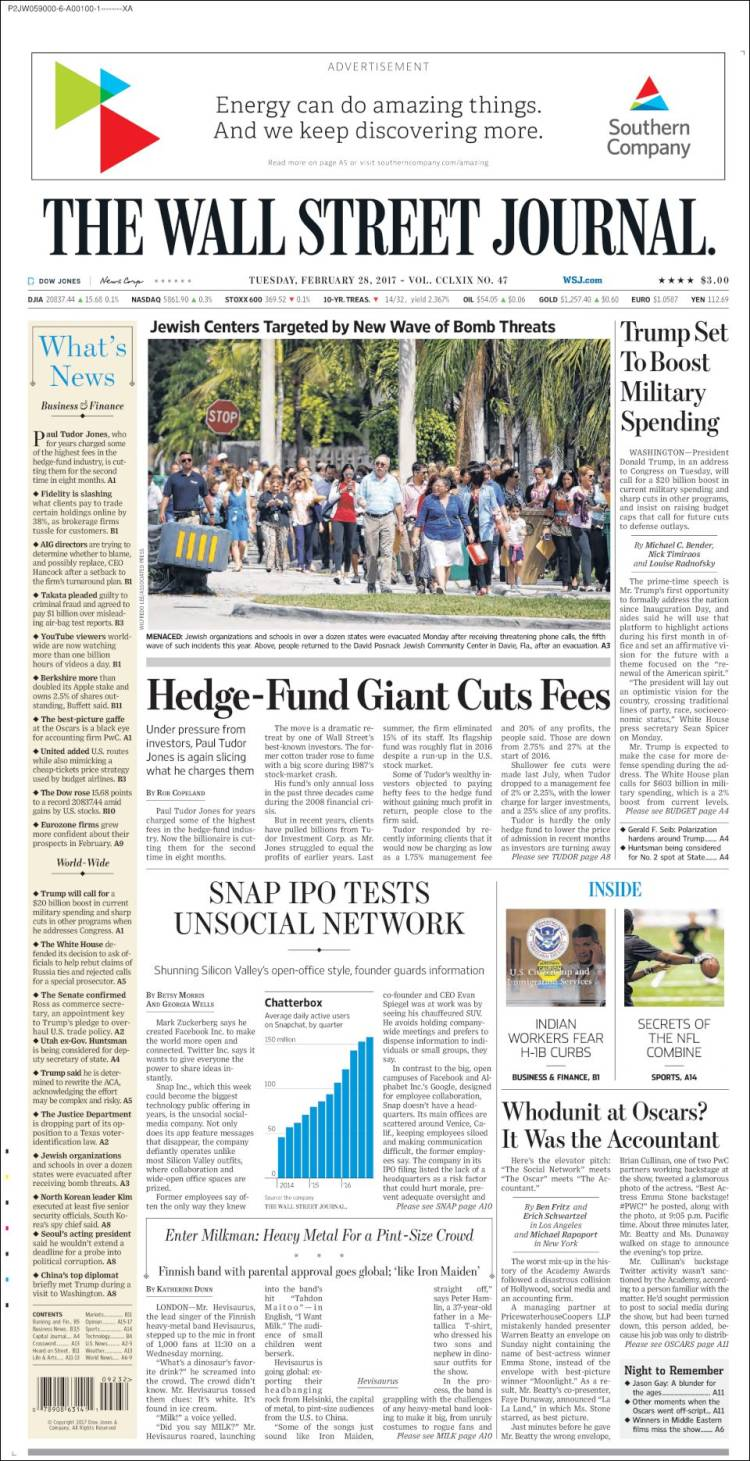 Newspaper Wall Street Journal USA Newspapers In USA Tuesdays - Top newspapers in usa