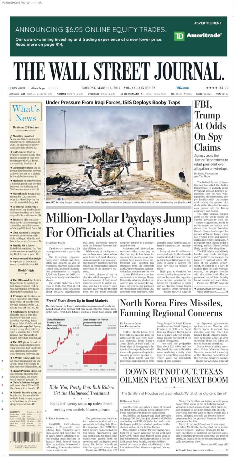 Newspaper Wall Street Journal Usa Newspapers In Mondays Snap Circuit 750 Portada De