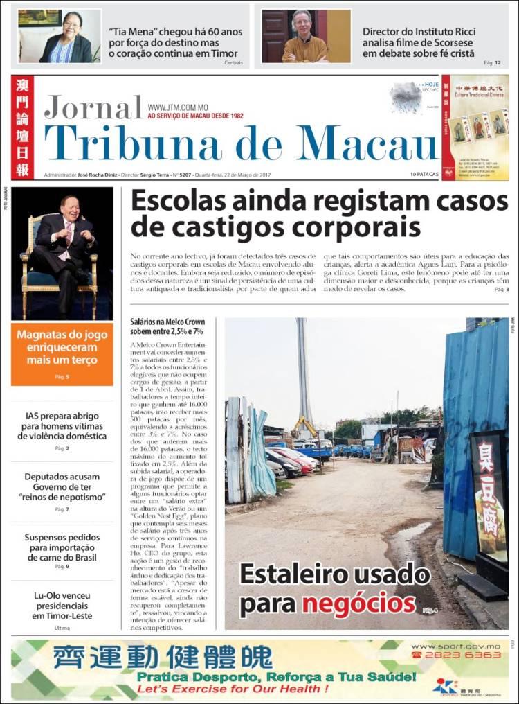 Portada de Jornal Tribuna de Macau (Chine)