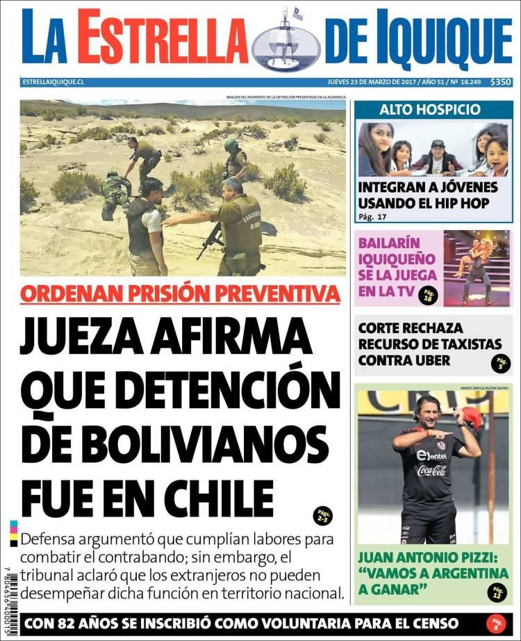 Portada de La Estrella de Iquique (Chile)