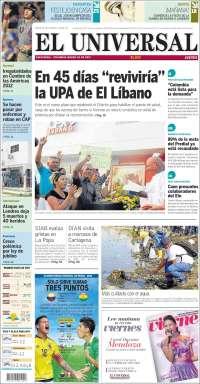 Portada de El Universal (Colombia)