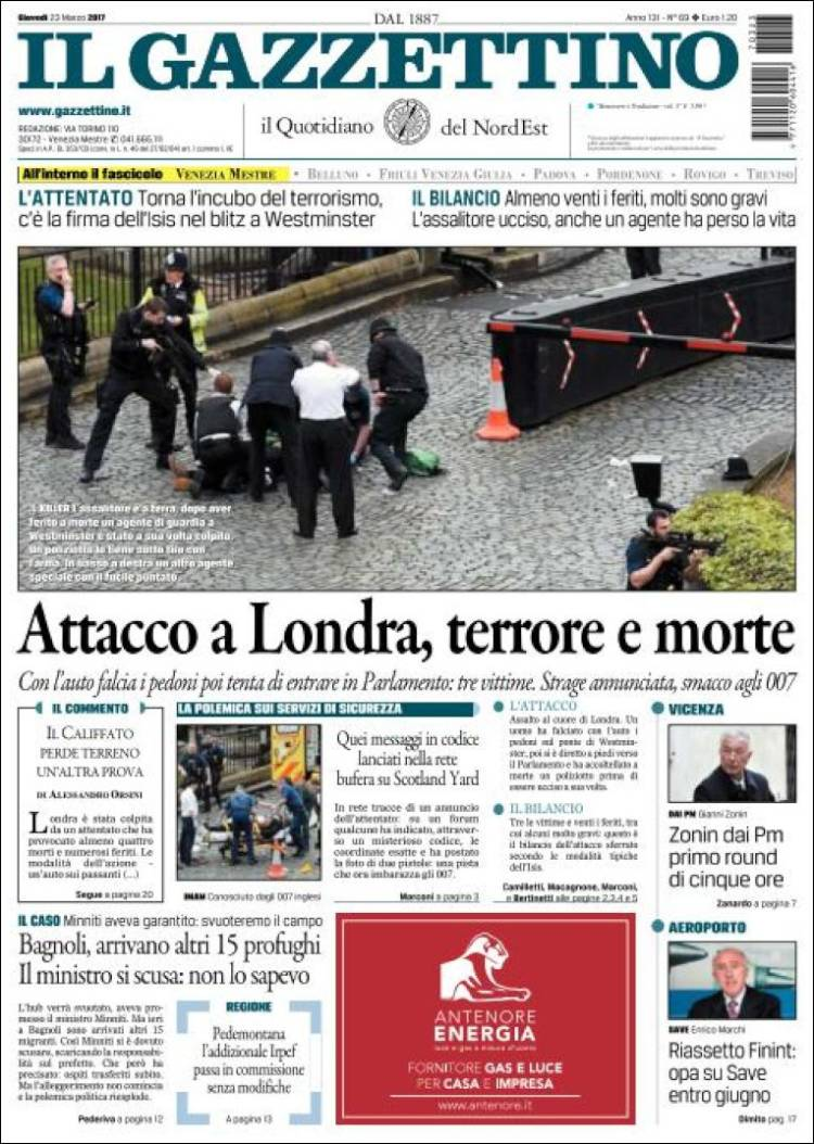 Portada de Il Gazzettino (Italie)