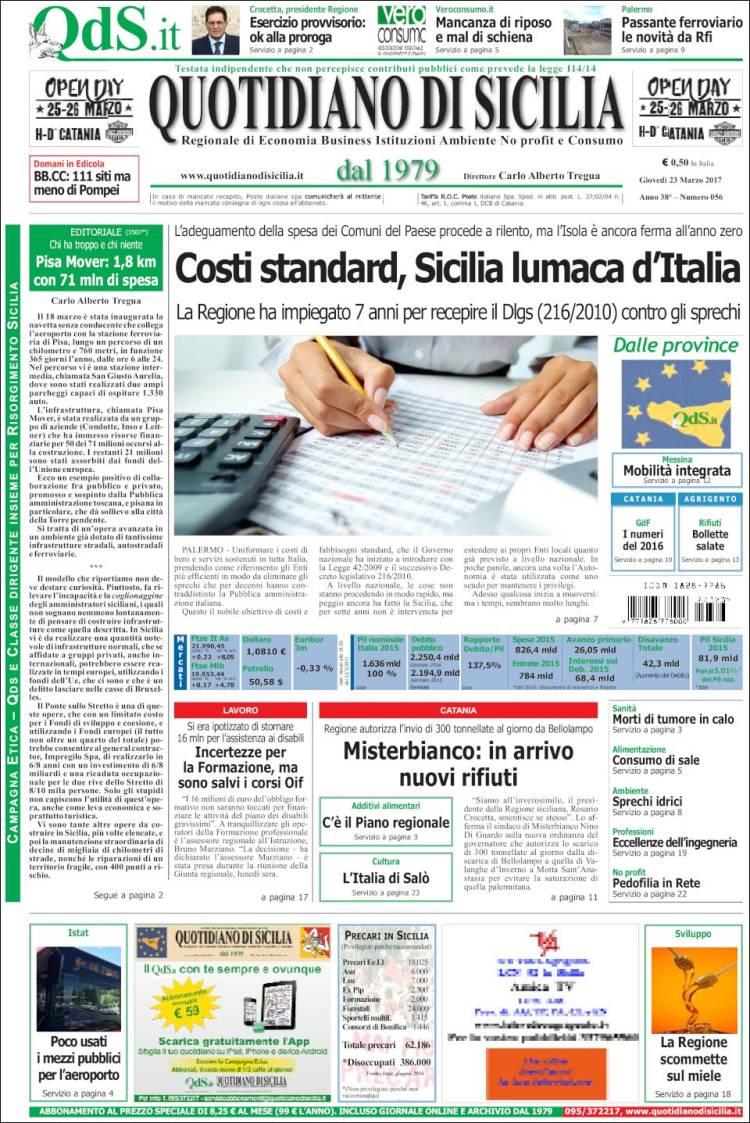 Portada de Quotidiano di Sicilia (Italie)