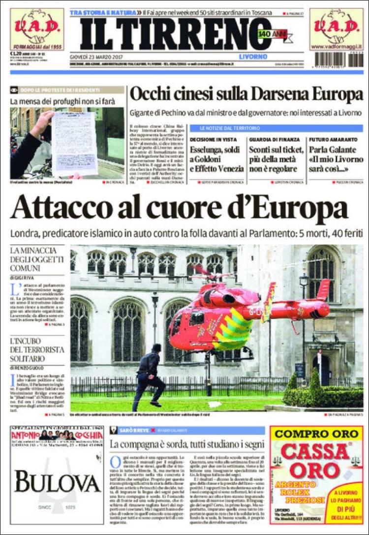 Portada de Il Tirreno (Italie)