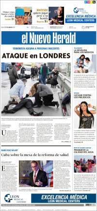 Portada de El Nuevo Herald (USA)