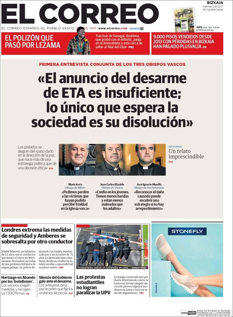 Portada de El Correo (Espagne)