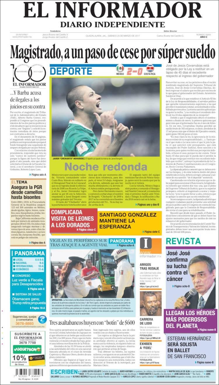 Portada de El Informador (Mexique)