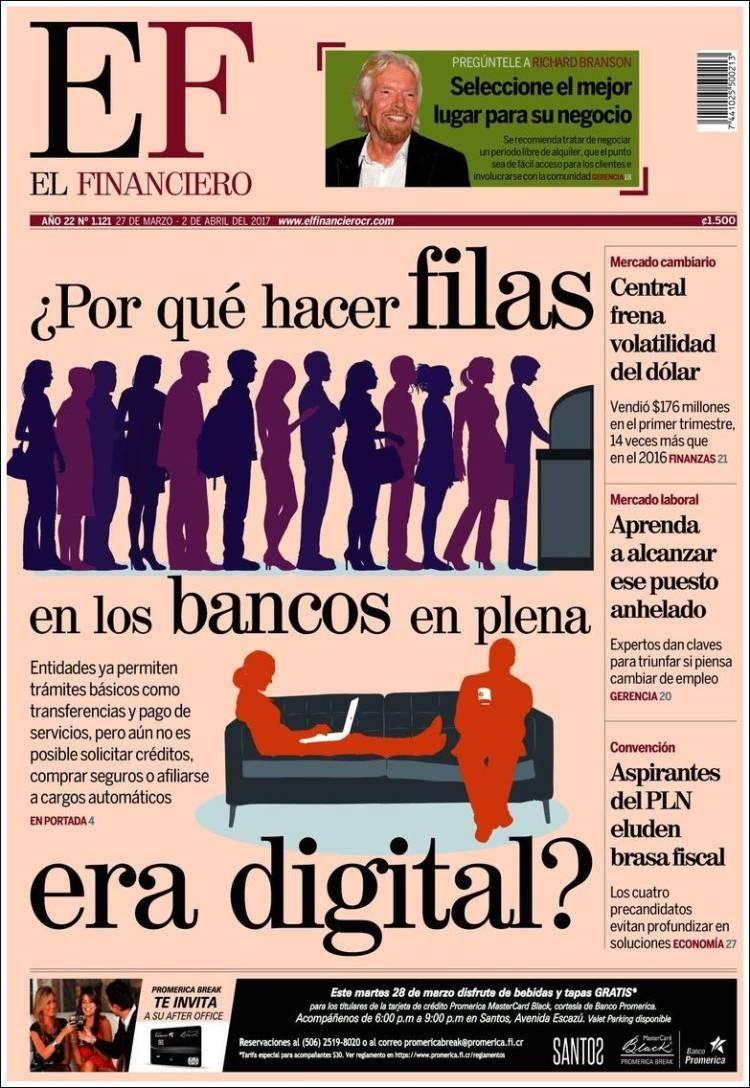Portada de El Financiero (Costa Rica)