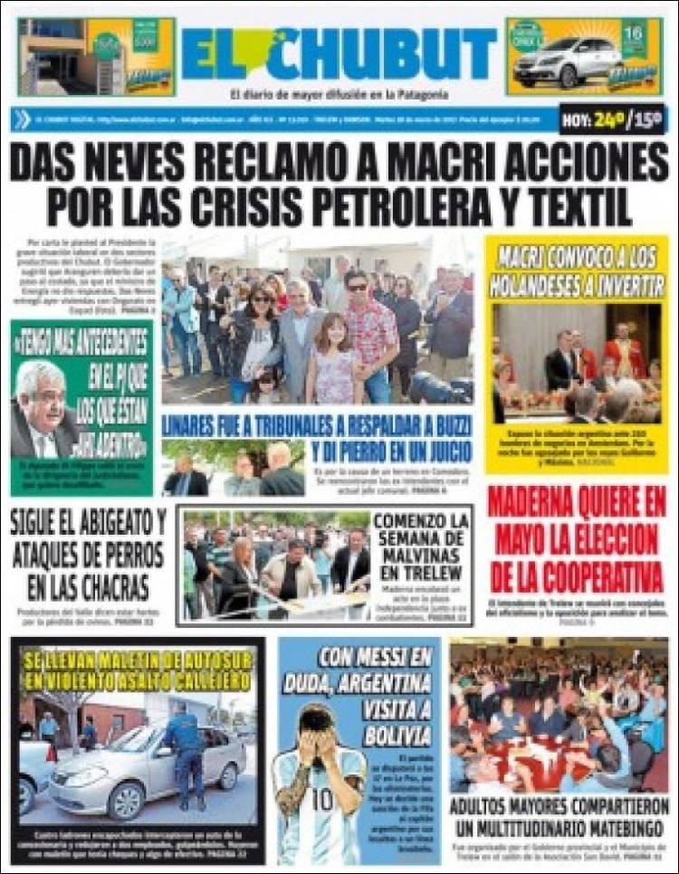 Portada de El Chubut (Argentina)