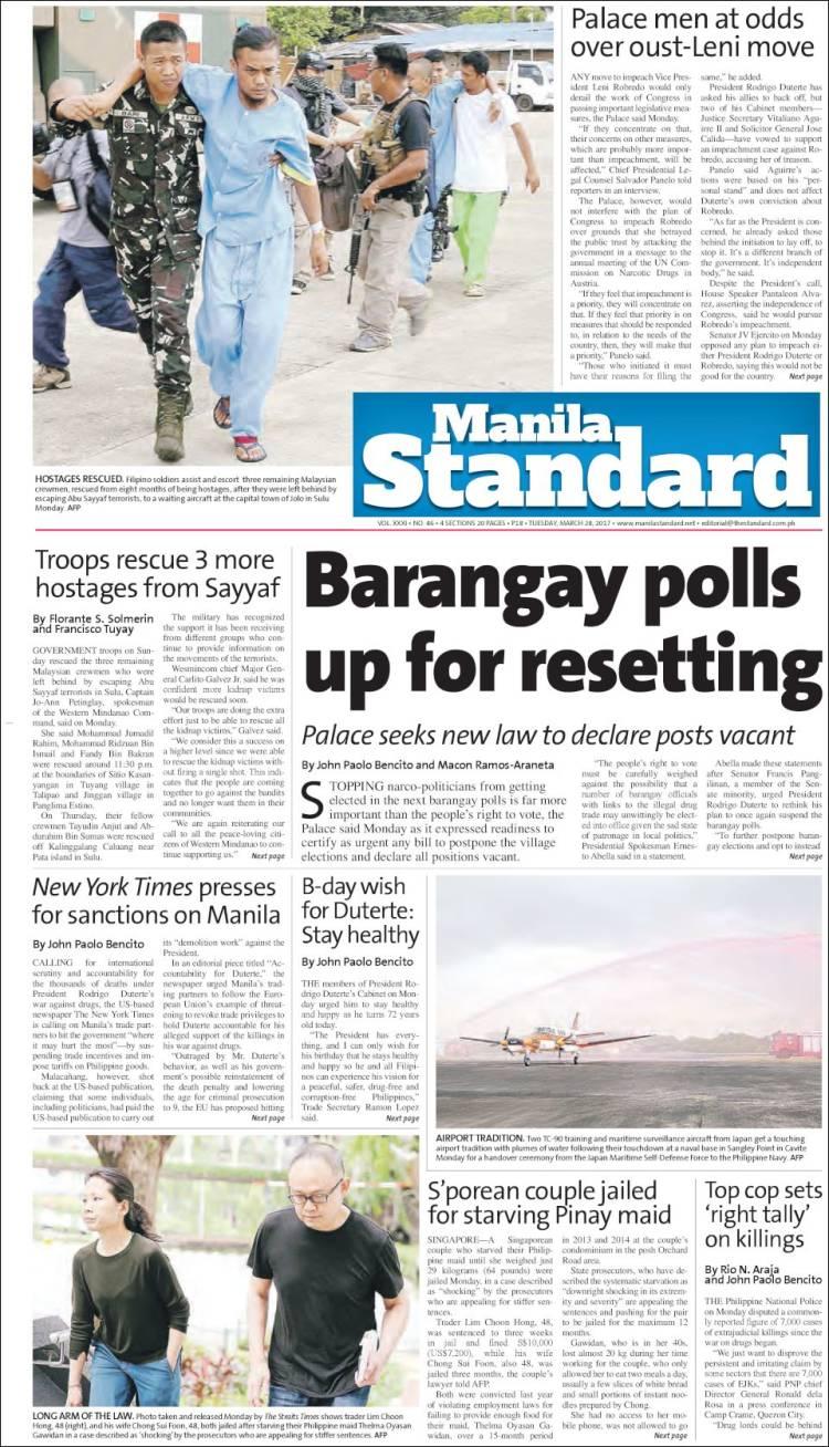 Portada de Manila Standard Today (Asia-Pacífico)