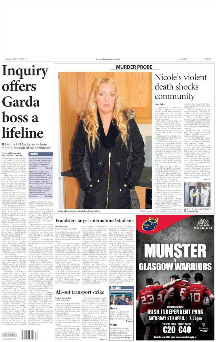 Portada de Irish Examiner (Irlande)