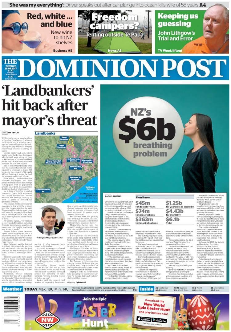 Portada de The Dominion Post (Nouvelle-Zélande)