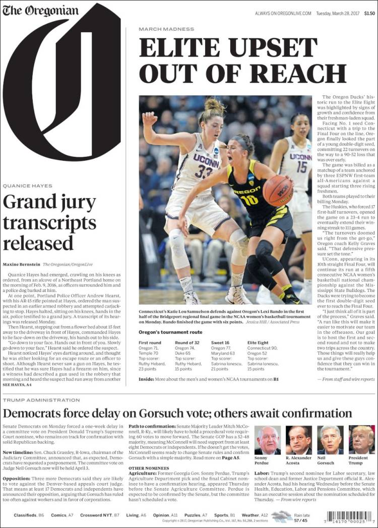 Portada de The Oregonian (USA)