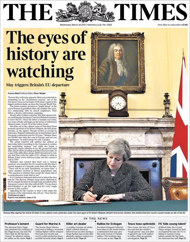 Portada de The Times (Royaume-Uni)