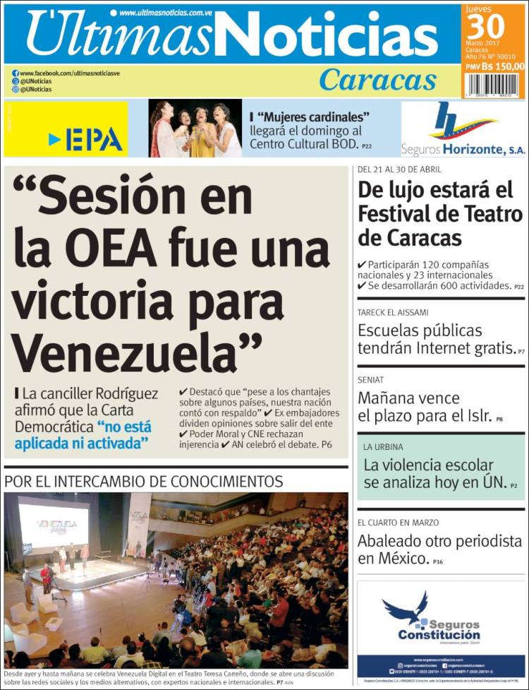 Portada de los diarios nacionales e internacionales de for Ultimas noticias de espectaculos internacionales