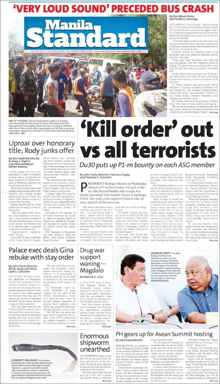 Portada de Manila Standard Today (Asie-Pacifique)