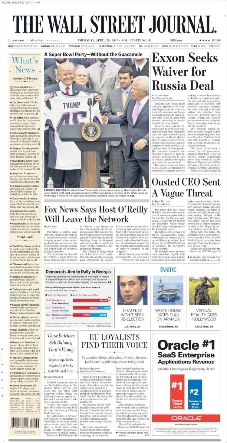 Newspaper Wall Street Journal (USA). Newspapers in USA ...