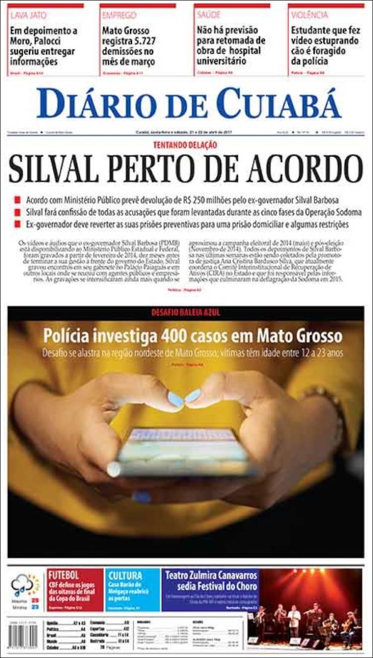 Portada de Diário de Cuiabá (Brésil)