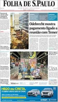 Portada de Folha de São Paulo (Brésil)