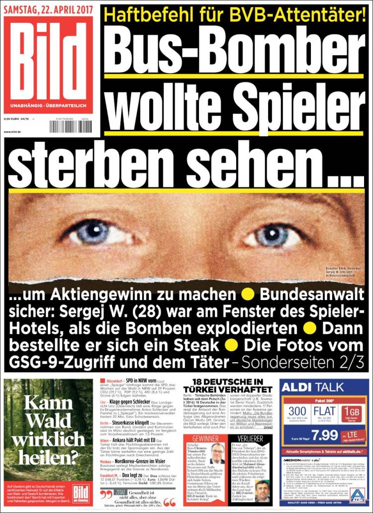newspaper bild germany newspapers in germany today 39 s press covers. Black Bedroom Furniture Sets. Home Design Ideas