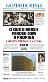 Portada de Jornal Estado de Minas (Brésil)