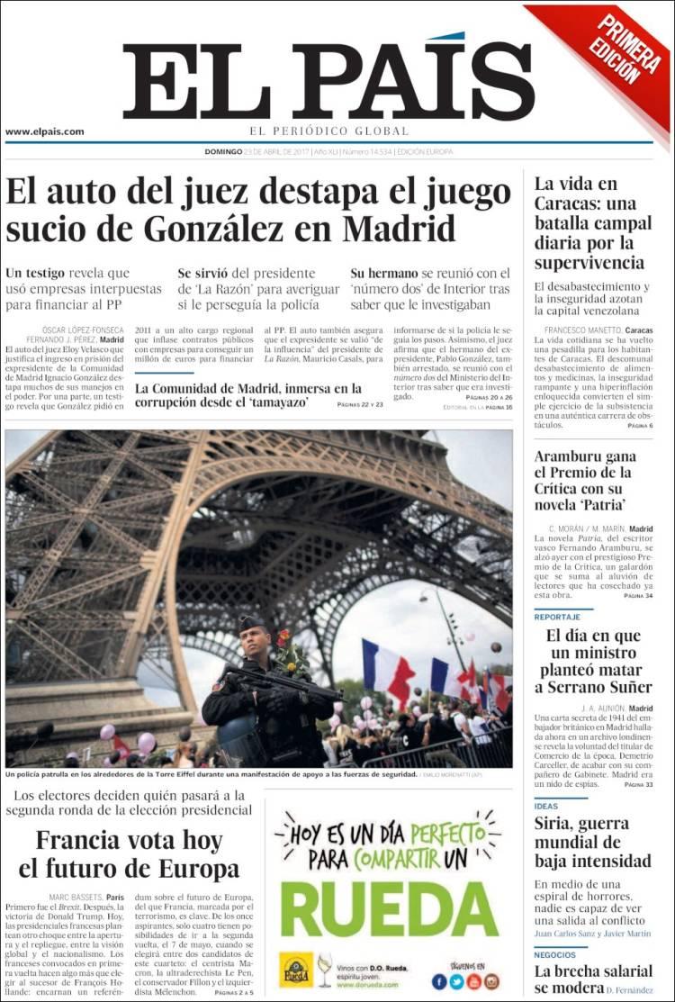 Portada de El País (Espagne)