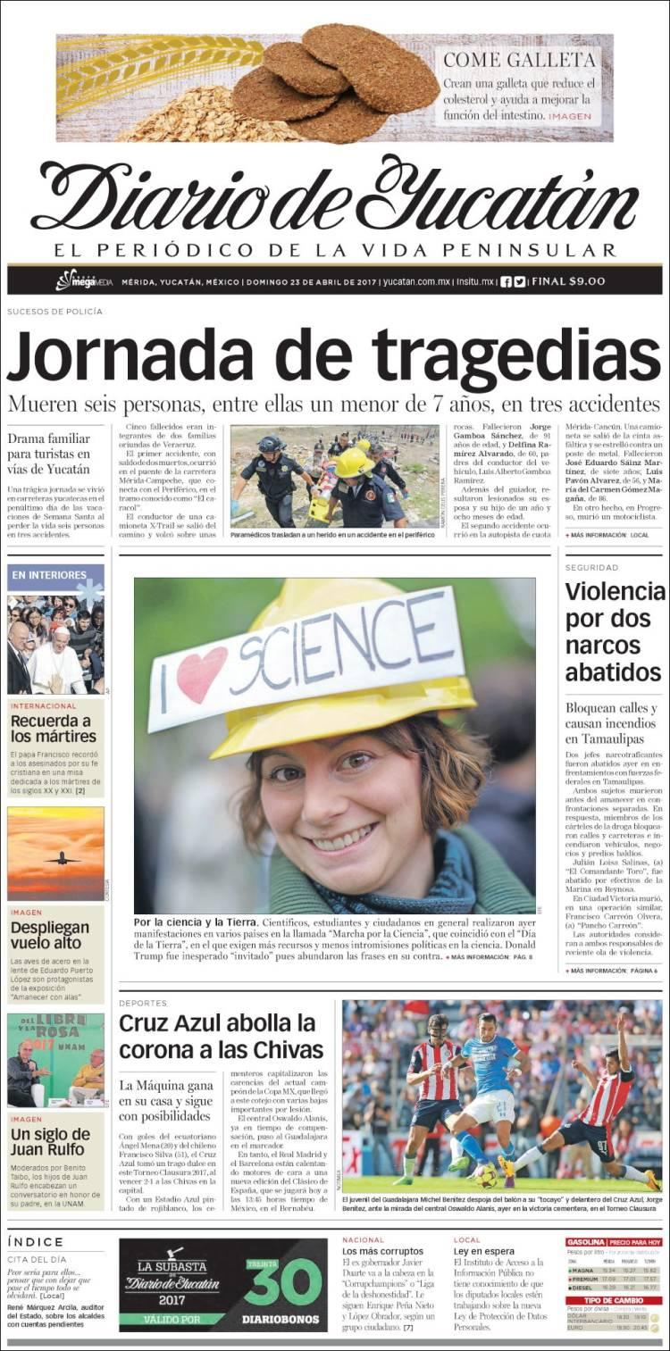 Portada de Diario de Yucatán (Mexique)