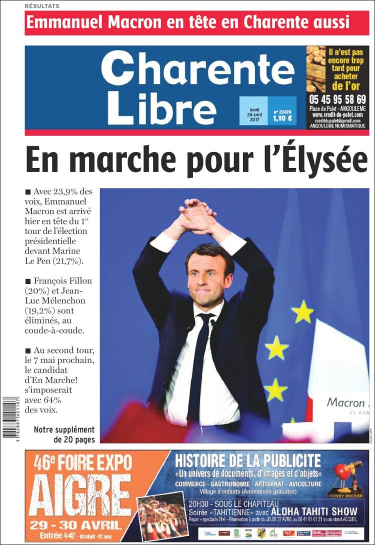 Charente Libre french presidential election 2017 macron le pen