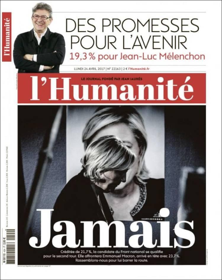 l'humanité french presidential election 2017 macron le pen