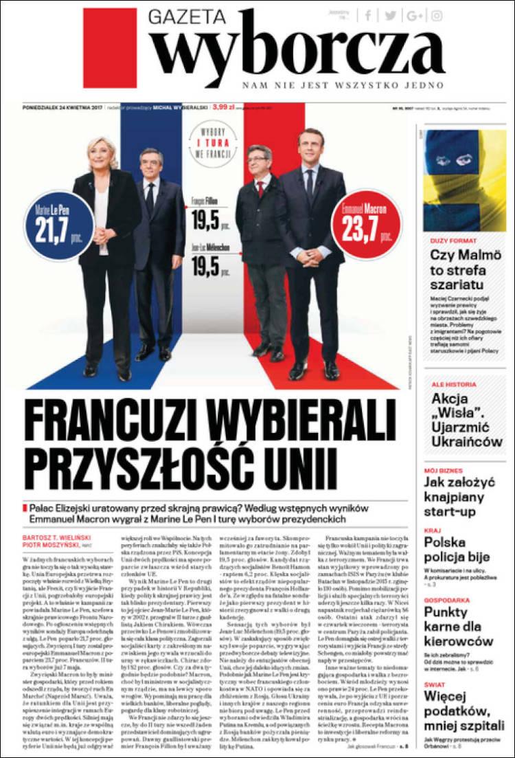 Portada de Gazeta Wyborcza (Pologne)