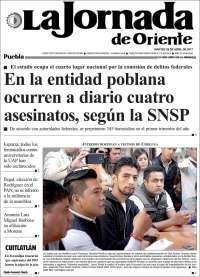 Portada de La Jornada de Oriente - Puebla (México)