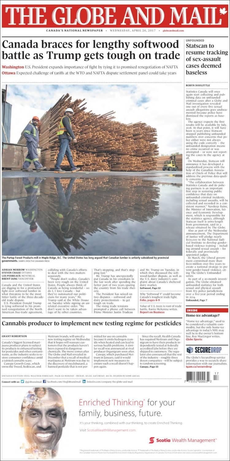 Portada de The Globe and Mail (Canadá)