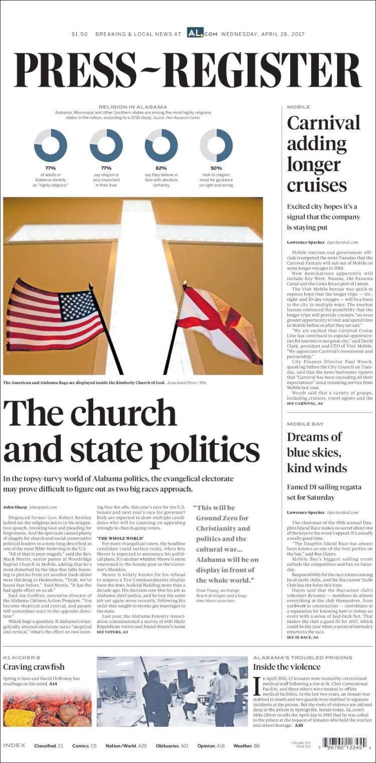 Portada de Press-Register (USA)