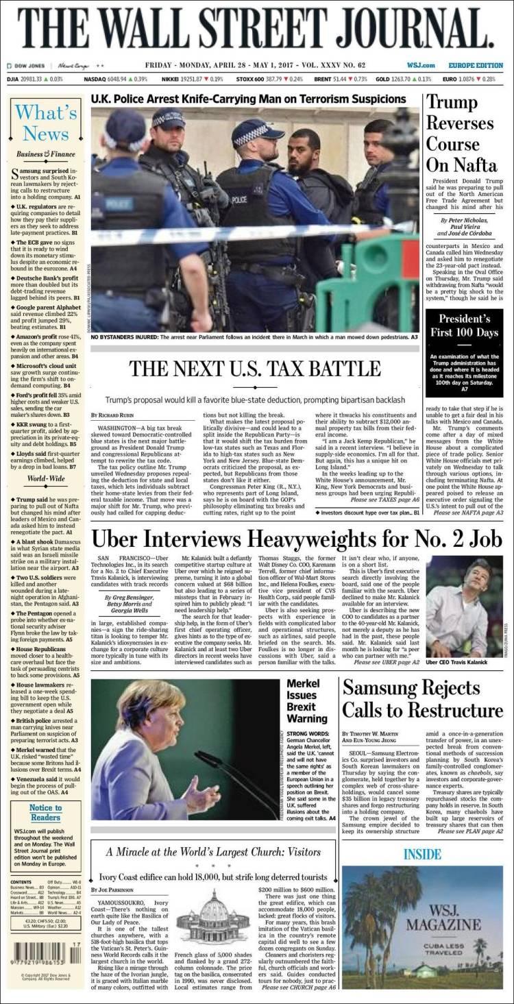 Portada de The Wall Street Journal - Europe (Europe)