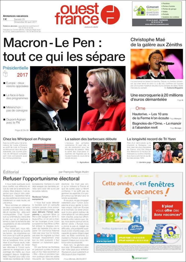 Journal ouest france france les unes des journaux de france dition du samedi 29 de avril - Ouest france le journal gratuit ...