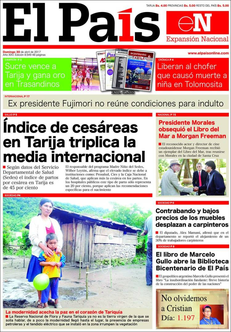 Newspaper El Pa S Bolivia Newspapers In Bolivia Sunday S  # Muebles Morales