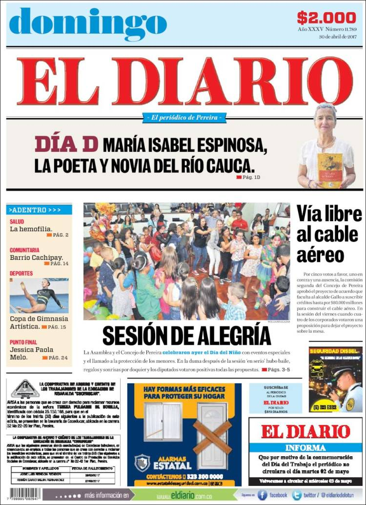 Portada de Diario de Otún (Colombia)