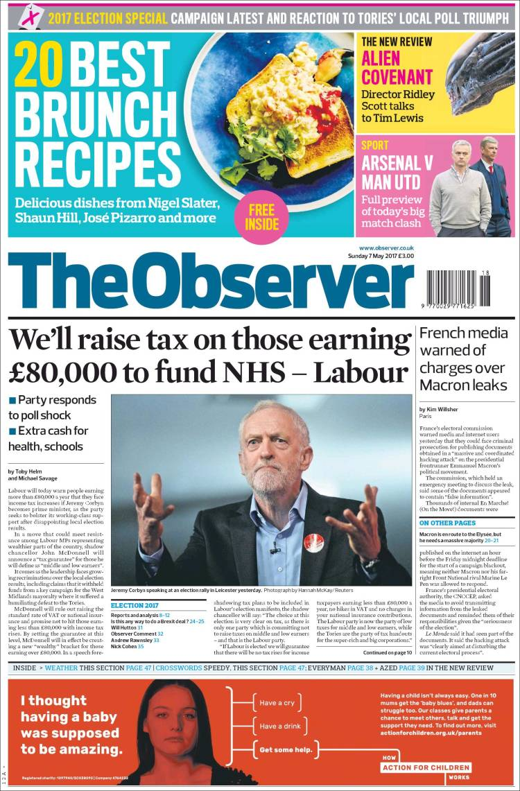 Portada de The Observer (Reino Unido)