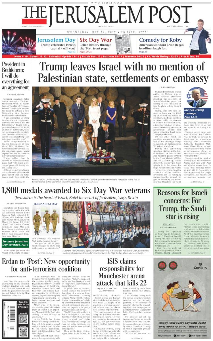 Portada de The Jerusalem Post (Israël)