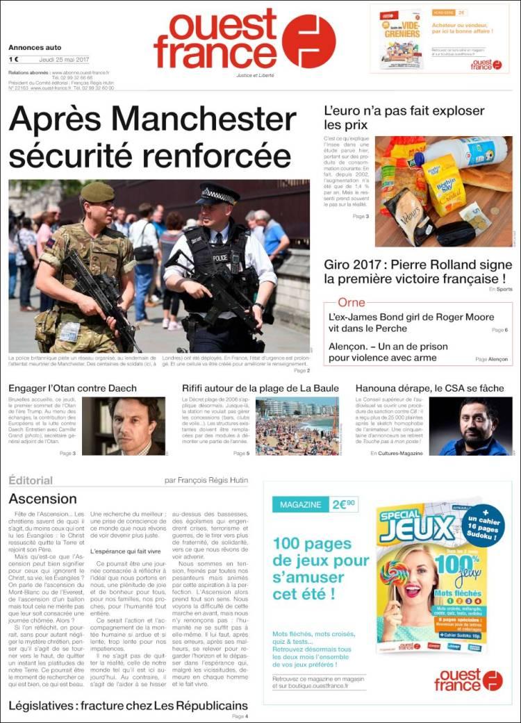 Journal ouest france france les unes des journaux de france dition du jeudi 25 de mai de - Ouest france le journal gratuit ...